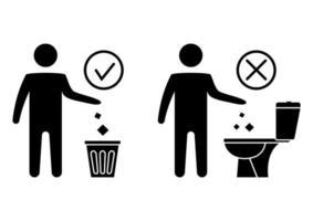 não jogue lixo no banheiro. banheiro sem lixo. mantendo a limpeza. por favor, não lave toalhas de papel, produtos sanitários, ícones. ícone proibido. jogando lixo em uma lata de lixo. vetor