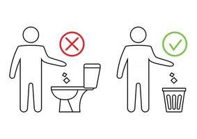 não jogue lixo no banheiro. banheiro sem lixo. mantendo a limpeza. por favor, não lave toalhas de papel, produtos sanitários, ícones. ícone proibido. jogando lixo em uma lata de lixo. informação pública vetor