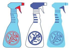 frascos com sinal de proibição da bactéria. frascos de produtos químicos domésticos. sprays de desinfecção na cor azul. recipientes de desinfetante com líquido antibacteriano. lavagem ou spray de álcool. vetor
