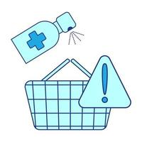 desinfecção de cesta básica. carrinho trata da desinfecção. compras seguras. atenção, proteja-se no supermercado. saneantes cesta de alimentos. prevenção de coronavírus ao fazer compras vetor