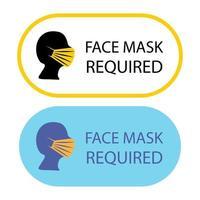 máscara necessária. máscara facial necessária enquanto estiver no local. a cobertura deve ser usada na loja ou em espaços públicos. prevenção logo modelo adesivo para a loja. coloque uma máscara protetora vetor