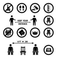 mantenha distância. regras de distanciamento social. ícone proibido para assento. distanciando-se sentado. tapete de desinfecção, lâmpada uv, limpeza úmida, lave as mãos, máscara necessária, evite aglomeração, fique aqui ícones vetor