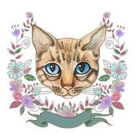 cara de gato em um quadro de flores. aquarela. vetor