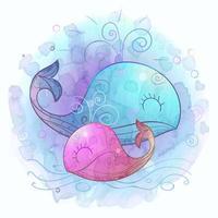 mãe da baleia com uma pequena baleia. maternidade. aquarela. vetor