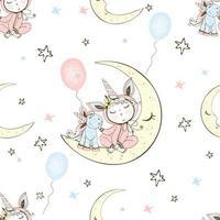 padrão sem emenda com um bebê fofo de pijama, sentado na lua com seu unicórnio de brinquedo. vetor