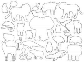 conjunto de silhuetas de animais. esboço do vetor cartoon isolado ilustração gráfica desenhada à mão. elefante hipopótamo zebra flamingo leão javali anta pinguim wombat urso marmota camaleão crocodilo kiwi cobra