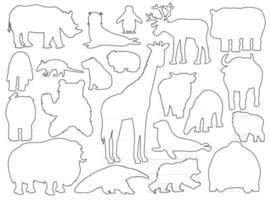 conjunto de animais de silhueta. esboço do vetor cartoon isolado ilustração gráfica desenhada à mão. girafa urso orangotango boi rinoceronte wombat vaca foca tapir tamanduá iaque hipopótamo capivara tatu pinguim