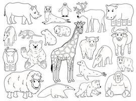 conjunto de animais doodle. esboço do vetor cartoon isolado ilustração gráfica desenhada à mão. girafa urso orangotango boi rinoceronte wombat vaca foca tapir tamanduá iaque hipopótamo capivara tatu pinguim