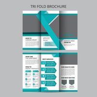 brochura com três dobras de dicas de saúde para coronavírus covid-19 vetor