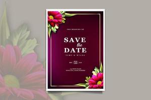 conjunto de cartão de convite de casamento floral de luxo vetor