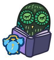 bonito coruja segurar o livro. adesivo de escola e educação vetor