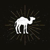 silhueta retro de um camelo corcunda vetor