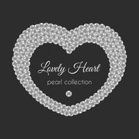 Coração de pérola. Quadro de vetor em forma de coração. Design de pérolas brancas.