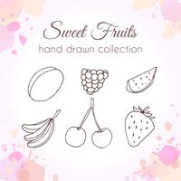 Conjunto de frutas frescas de mão desenhada com salpicos de aquarela coloridos vetor
