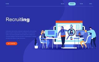Conceito moderno design plano de recrutamento de negócios