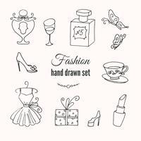 Mão, esboçado, cobrança, de, francês, moda, elementos vetor
