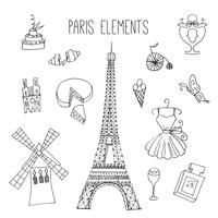 Elementos de Doodle com tema de Paris vetor