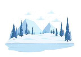 Vetorial, inverno, paisagem, ilustração vetor