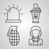 coleção de símbolos da polícia em fundo branco ícones de contorno da polícia vetor