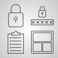 conjunto de ícones simples de ícones de linha relacionados à interface do usuário vetor