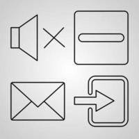 conjunto de ícones de design plano de linha fina da interface do usuário vetor