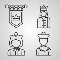 conjunto de ícones de design plano de linhas finas da realeza vetor