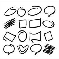 Marca de marcador de mão desenhada e conjunto de texto de bolha