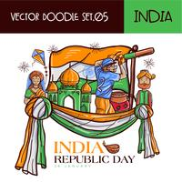 Mão desenhada indiano República dia ilustração vetorial