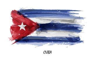 Bandeira de aquarela pintura realista de cuba. vetor. vetor