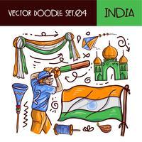 Dia da República da Índia Doodle Icon Set. Estilo de mão desenhada de vetor