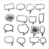 Conjunto de texto de bolha desenhada de mão vetor