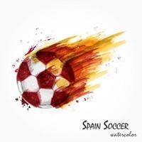 pintura em aquarela realista da poderosa seleção espanhola de futebol ou tiro de futebol conceito artístico e esportivo. vetor