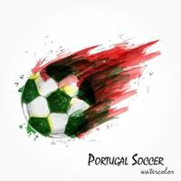 pintura em aquarela realista da poderosa seleção nacional de futebol de Portugal ou tiro de futebol. conceito artístico e esportivo. vetor