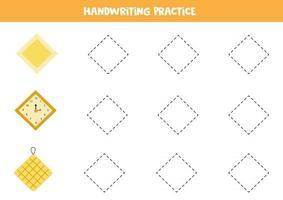 traçar contornos do losango. prática da escrita. vetor