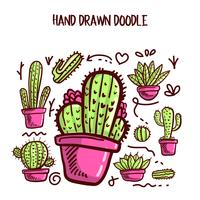 Vetor de cactos e suculentas. Doodle ilustração definida.