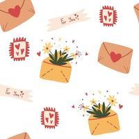 padrão sem emenda com envelopes mensagem romântica. amo os correios. design de textura de fundo para web, impressão e têxteis, papel de parede. dia dos namorados, amor, correio. ilustração dos desenhos animados do vetor. vetor