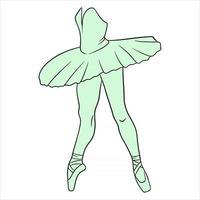 balé. pernas de bailarina em tutu e ponta. arte de linha. vetor