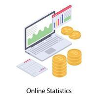 estatísticas online e gráfico vetor