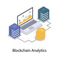 análise e dados do blockchain vetor