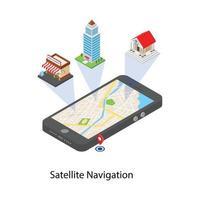 conceitos de navegação por satélite vetor