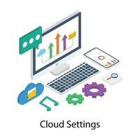 configurações de nuvem e manutenção vetor
