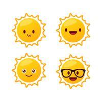 Emoticons de sol vetor