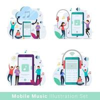 conjunto de ilustração vetorial de reprodutor de música móvel vetor