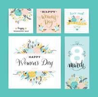 Dia Internacional da Mulher. Modelos de vetor com flores e letras.