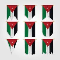 bandeira da Jordânia em diferentes formas, bandeira da Jordânia em várias formas vetor