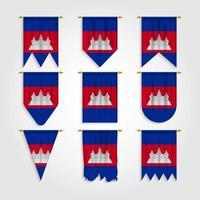 bandeira do Camboja em diferentes formas, bandeira do Camboja em várias formas vetor