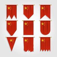 bandeira da china em diferentes formas, bandeira da china em várias formas vetor