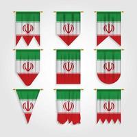 Bandeira do Irã em diferentes formas, bandeira do Irã em várias formas vetor