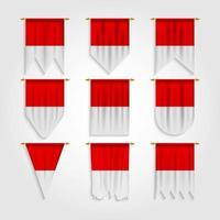 bandeira da Indonésia em diferentes formas, bandeira da Indonésia em várias formas vetor