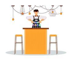 ilustração em vetor cor plana barman do hotel. pessoal de serviço, pessoal. chef do bar com bebidas coloridas no balcão. barman fazendo coquetéis isolado personagem de desenho animado no fundo branco